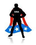 Silueta americana del héroe estupendo stock de ilustración