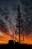 Silueta ardiente del cielo Fotografía de archivo