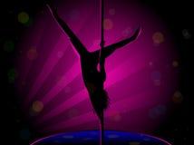 Silueta atractiva de la danza de poste Foto de archivo