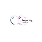 Silueta azul y púrpura abstracta aislada del cuerpo humano del color con el logotipo circular de los elementos en el vector blanc Imagenes de archivo
