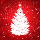 Silueta blanca del árbol de navidad Imagenes de archivo