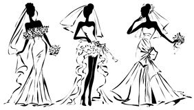 Silueta blanco y negro de la mujer de la moda de la boda Imágenes de archivo libres de regalías