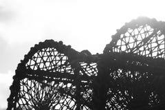 Silueta blanco y negro de la red de la langosta fotografía de archivo