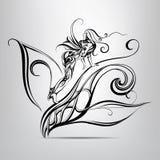 Silueta blanco y negro de un duende del bosque ilustración del vector