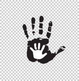 Silueta blanco y negro del adulto y de la mano del bebé aislados libre illustration