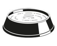 Silueta blanco y negro del cuenco del agua del animal doméstico Imagen de archivo