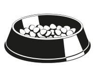 Silueta blanco y negro del cuenco del alimento para animales Imágenes de archivo libres de regalías
