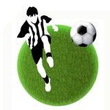 Silueta blanco y negro del futbolista con una bola imagenes de archivo