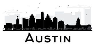 Silueta blanco y negro del horizonte de Austin City stock de ilustración