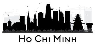 Silueta blanco y negro del horizonte de Ho Chi Minh City stock de ilustración