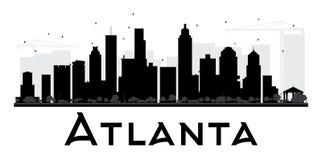 Silueta blanco y negro del horizonte de la ciudad de Atlanta ilustración del vector