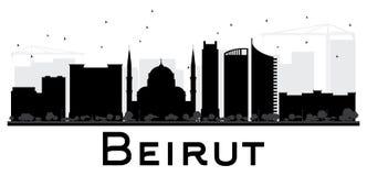 Silueta blanco y negro del horizonte de la ciudad de Beirut Imágenes de archivo libres de regalías