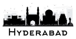 Silueta blanco y negro del horizonte de la ciudad de Hyderabad libre illustration