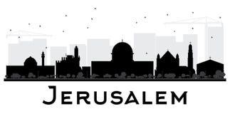 Silueta blanco y negro del horizonte de la ciudad de Jerusalén stock de ilustración