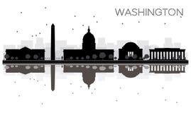 Silueta blanco y negro del horizonte de la ciudad del Washington DC con Refle Imagenes de archivo