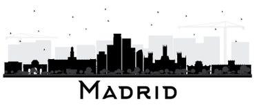 Silueta blanco y negro del horizonte de Madrid España ilustración del vector