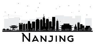 Silueta blanco y negro del horizonte de Nanjing China