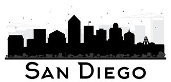 Silueta blanco y negro del horizonte de San Diego City ilustración del vector