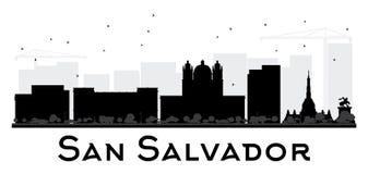 Silueta blanco y negro del horizonte de San Salvador City