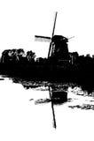 Silueta blanco y negro del molino de viento holandés Fotos de archivo libres de regalías
