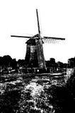 Silueta blanco y negro del molino de viento holandés Foto de archivo