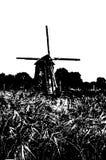 Silueta blanco y negro del molino de viento holandés Foto de archivo libre de regalías