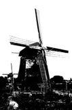 Silueta blanco y negro del molino de viento holandés Fotografía de archivo libre de regalías