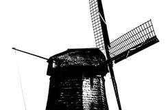 Silueta blanco y negro del molino de viento holandés Imagen de archivo libre de regalías