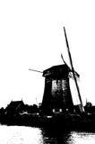 Silueta blanco y negro del molino de viento holandés Imagenes de archivo