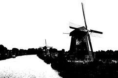 Silueta blanco y negro del molino de viento holandés Fotos de archivo