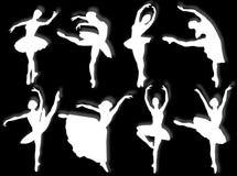 Silueta clásica de los bailarines stock de ilustración