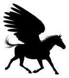 Silueta coa alas del caballo de Pegaso Imagen de archivo libre de regalías
