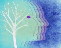 Silueta coloreada y árbol de la cabeza humana Fotos de archivo libres de regalías