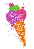Silueta colorida del cono de helado Foto de archivo libre de regalías