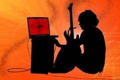 Silueta colorida del muchacho adolescente con la guitarra Fotos de archivo libres de regalías