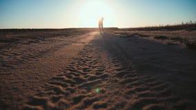 Silueta corriente del hombre en tiempo de la puesta del sol Funcionamiento a campo través al aire libre El hombre joven atlético  almacen de metraje de vídeo