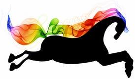 Silueta corriente hermosa del negro del caballo con el resumen brillante del color Imagen de archivo libre de regalías