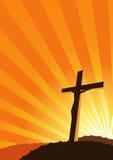 Silueta cruzada cristiana Imagenes de archivo