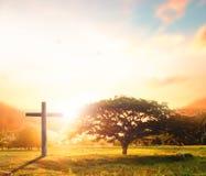Silueta cruzada negra conceptual del símbolo de la religión del concepto en hierba sobre puesta del sol o el cielo de la salida d Fotos de archivo
