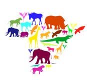 Silueta de África con los animales. Imagen de archivo libre de regalías