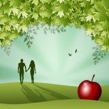 Silueta de Adán y de Eva en la creación ilustración del vector