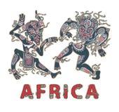 Silueta de africanos Aborígenes de los africanos del baile en máscaras Inscripción decorativa África stock de ilustración