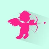 Silueta de Angel With Bow Arrow Cupid de la tarjeta del día de San Valentín Fotos de archivo
