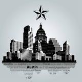 Silueta de Austin en blanco y negro Imágenes de archivo libres de regalías