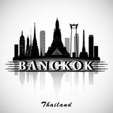 Silueta de Bangkok, Tailandia Horizonte de la ciudad Foto de archivo libre de regalías