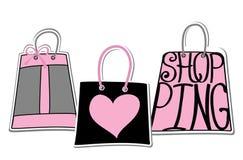 Silueta de bolsos de palabras Quiero el hacer compras Fotografía de archivo