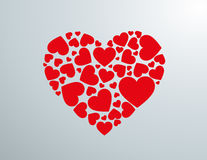 Silueta de corazón creada con corazones rojos. Stock Photography