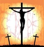 Silueta de Cristo en la cruz Imagen de archivo libre de regalías