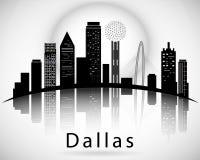 Silueta de Dallas, Texas United States de América Fotografía de archivo libre de regalías