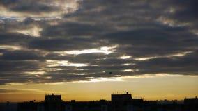Silueta de dos pájaros que vuela sobre ciudad en la salida del sol almacen de metraje de vídeo
